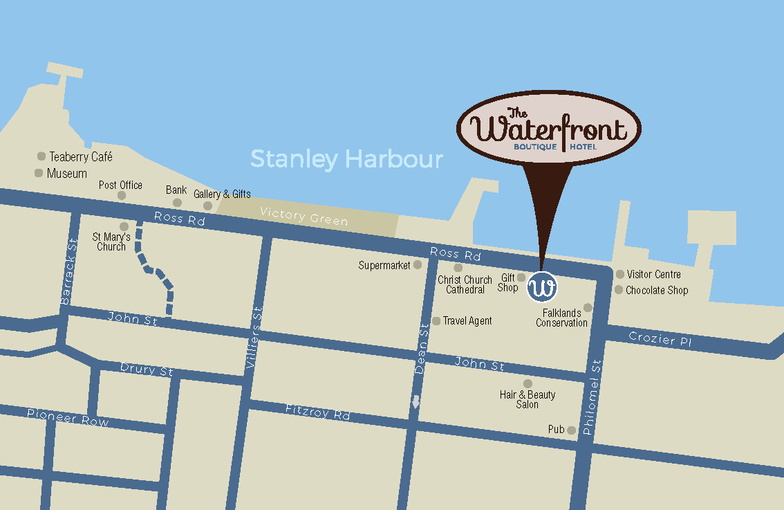 Waterfront Hotel, The Falklands, Location Map